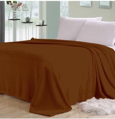 K Decor Plain Double Blanket Brown Fleece Blanket, 1 Double Bed Fleece Ac Blanket