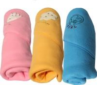 My NewBorn Cartoon Single Dohar Multicolor (AC Dohar, Pack Of 3 Classic Polar Fleece Hooded Pink Beige And Sky Blue Blankets)
