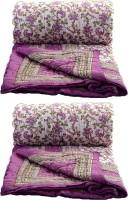 Rangasthali Set Of 2 Jaipuri Traditional Ethnic Double Cotton Quilt / Razai In Violet Flower Printed Double Blanket (100% Cotton)