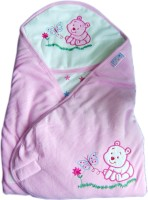 Tiny Care Baby Hooded Wrap Velour Pink Blanket (Single)