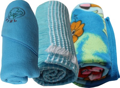 My NewBorn Cartoon Crib Hooded Baby Blanket Sky Blue (Three Baby Blankets With SHAWL, Printed Fleece And Classic Fleece)