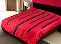 Zikrak Exim Striped Double Quilts & Comforters Red & Black Double Quilt