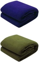 RS Quality Plain Double Blanket Blue, Green 1 Blue And 1 Green Blanket