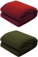 RS Quality Plain Double Quilts & Comforters Red Plain Double 1 Red And 1 Green Blanket