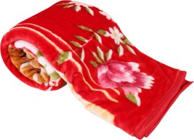 IndiWeaves Floral Single Blanket Red