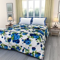 ECraftIndia Floral Queen Dohar Blue, Green, White AC Dohar, One Single Bed Reversible AC Blanket