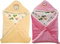 My NewBorn Cartoon Crib Hooded Baby Blanket Beige, Pink (Two Lovable Velvet Hooded Baby Blanket)