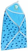 Brandonn Baby Bath Towel Cum Wrap Hooded Graphic Single Blanket (Blue)