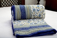 Shoppingtara Gift Jaipuri Blue S Cottont In Floral Print Floral Double Quilt (100% Cotton)