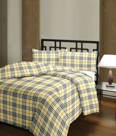 FINCH FEATHER Checkered Double Dohar Beige & Black