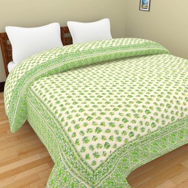 Shra Floral Double Quilts & Comforters Green