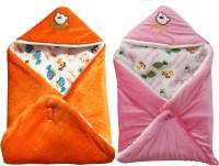 My NewBorn Cartoon Crib Hooded Baby Blanket Tangerine, Pink (Two Lovable Velvet Hooded Baby Blanket)