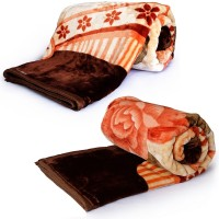 Textile India Luxurious Floral Designer Floral Double Blanket Brown