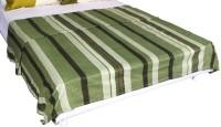 Bombay Dyeing Striped Double Fleece Blanket Green, White, Black