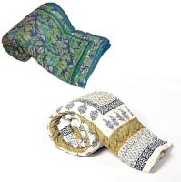 Indigocart Self Design Double Quilt Blue, White