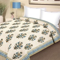Aapno Rajasthan Block Print Pure Cotton Bed In Blue And Green Floral, Printed Double Blanket Multicolor