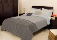Bombay Dyeing Striped Single Blanket Grey Mink Blanket, Blanket