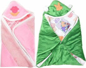 ROYAL SHRI OM Printed Crib Hooded Baby Blanket Multicolor