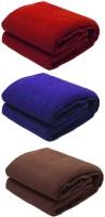 Peponi Plain Single Blanket Multicolor Peponi Multicolor Plain Single Bed Fleece Blanket Set Of 3