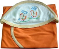 Tiny Care Orange Hooded Towel Dark Shade Blanket (Single)