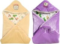 My NewBorn Cartoon Crib Hooded Baby Blanket Purple, Beige (Two Lovable Velvet Hooded Baby Blanket)