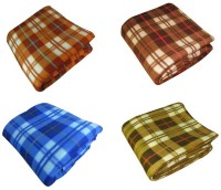Peponi Checkered Single Blanket Multicolor Peponi Multicolor Checked Single Bed Fleece Blanket Set Of 4