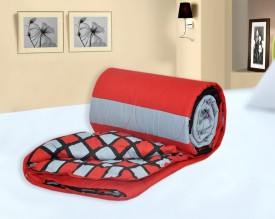 Salona Bichona Checkered Single Quilts & Comforters Red