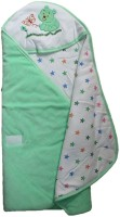 Tiny Care Baby Hooded Wrap Velour Green Blanket (Single)