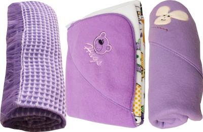 My NewBorn Cartoon Crib Hooded Baby Blanket Purple (Three Baby Blankets With SHAWL, Hooded Fleece And Classic Fleece)