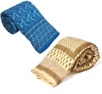 Indigocart Self Design Double Quilt Blue, Off White