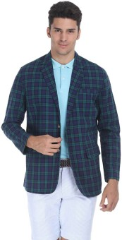 Zobello Checkered Single Breasted Casual Men's Blazer