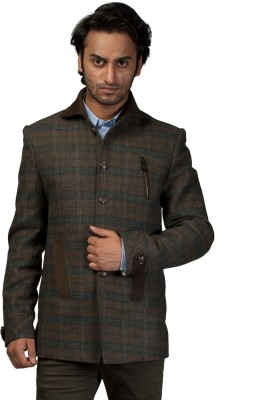 Fashion Fashion Style Checkered Single Breasted Formal Men's Blazer (Brown)