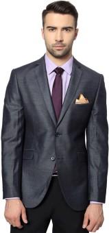 Peter England Solid Single Breasted Formal Men's Blazer