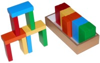KIdo Wooden Brick Building Blocks - Set Of 25 Pieces (Multicolor)