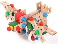 XTOYS Wooden 69-Pieces Plane Building & Construction Set, For Ages 5+ Years (Multicolor)