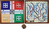 RoyaltyLane 2-in-1 Wooden Snake Ladder And Ludo Board Game Set - Magnetic Board And Pieces Board Game