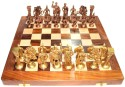 StonKraft Collectible Wooden Folding Chess Game Board Set, Brass Roman Figure Pieces Board Game