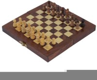Craft Art India Wooden Folding Non- Magnetic Chess With Storage Of Pieces Set 8 X 8 Inches Board Game
