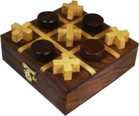 RoyaltyLane Handmade Wooden Tic Tac Toe Game Toy - Noughts And Crosses Wooden Toy And Puzzle Set Board Game