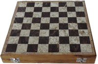 Radhey Of White And Black Marble And Wooden On Bottom 8 Inch Chess Board (White)