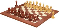 Chessbazaar Ferocious Elite Series Set & Red Ash Burl And Maple 4.3 Inch Chess Board (Red, White)