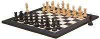 Chessbazaar Meghdoot Staunton Set & Black Anigre Maple 3.2 Inch Chess Board (Black, White)