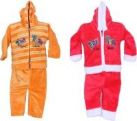 Tiny Toon Baby Boy's Embroidered Red, Yellow Top & Pyjama Set