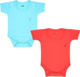 Lula Baby Girl's Red, Light Blue Bodysuit
