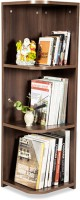 Debono Flora Corner Book Rack With Four Shelves Engineered Wood Open Book Shelf (Finish Color - Acacia Dark Matt Finish)
