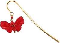 Kanhai Dainty Butterfly Metal Clip Bookmark (Nature, Red)