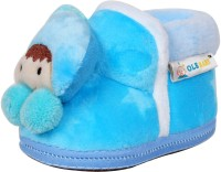Ole Baby Cute Noddy Plush Soft Furry Organic 3d Toons 3-12 Months Booties (Toe To Heel Length - 12 Cm Blue)