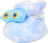 Ole Baby Upside Down Plush Polka Dotted Soft Furry Organic 3d Toons 3-12 Months Booties (Toe To Heel Length - 12 Cm Blue)