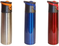 Kitchat Sports Flask 750 Ml Bottle (Pack Of 3, Silver, Blue, Red)