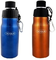 Acqua Sports Water Bottle Pair 600 Ml Flask (Pack Of 2, Blue & Golden)